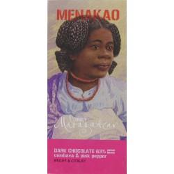 Tablette de chocolat noir 63% Combava et Baies roses